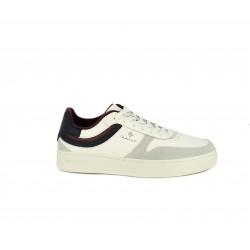 Zapatillas deportivas GANT blancas con cordones combinadas en ante y piel - Querol online
