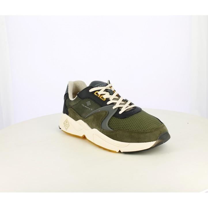 Zapatillas deportivas GANT verdes con plantilla de piel, cordones y suela blanca - Querol online