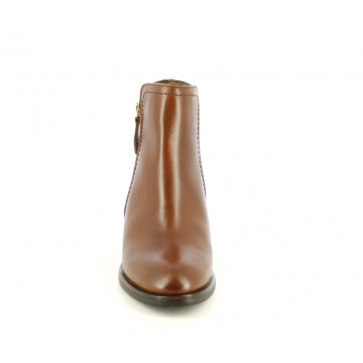 Botins de taló Redlove marrons de pell amb cremallera lateral daurada - Querol online