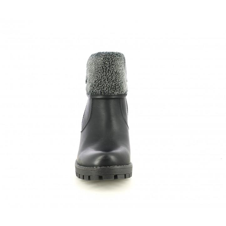 Botins de taló Owel negres de diferents textures i cremallera platejada lateral - Querol online