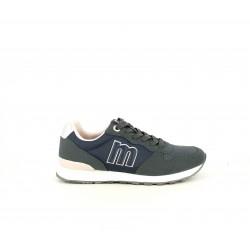 Zapatillas deportivas Mustang azules de cordones con detalles grises y rosas - Querol online