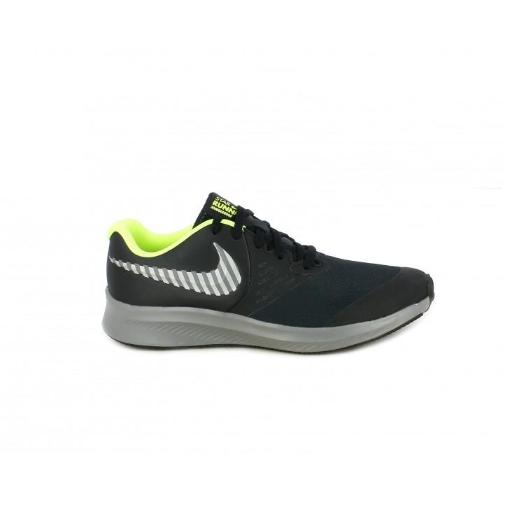 Zapatillas deporte Nike star runner 2 negras con interior amarillo fluorescente - Querol online