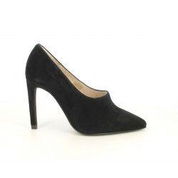 Zapatos tacón Angel Alarcón negros de piel con punta - Querol online