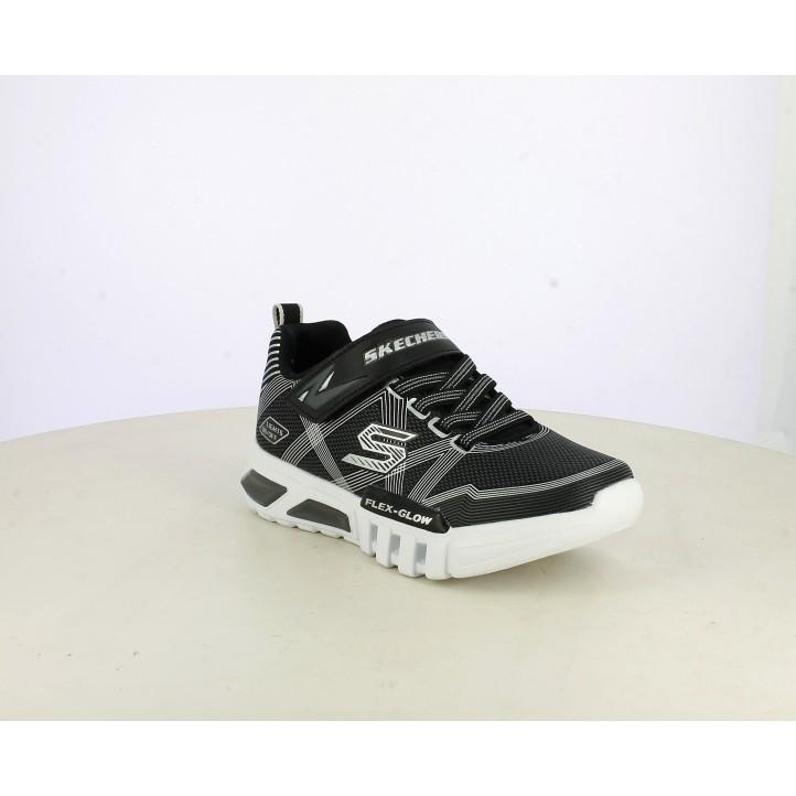 Zapatillas deporte Skechers negras, grises y blancas con luces led - Querol online