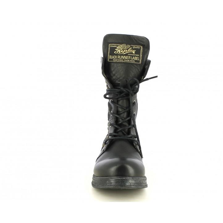 Botas tacón Replay negras de piel altos con parches y tachas - Querol online