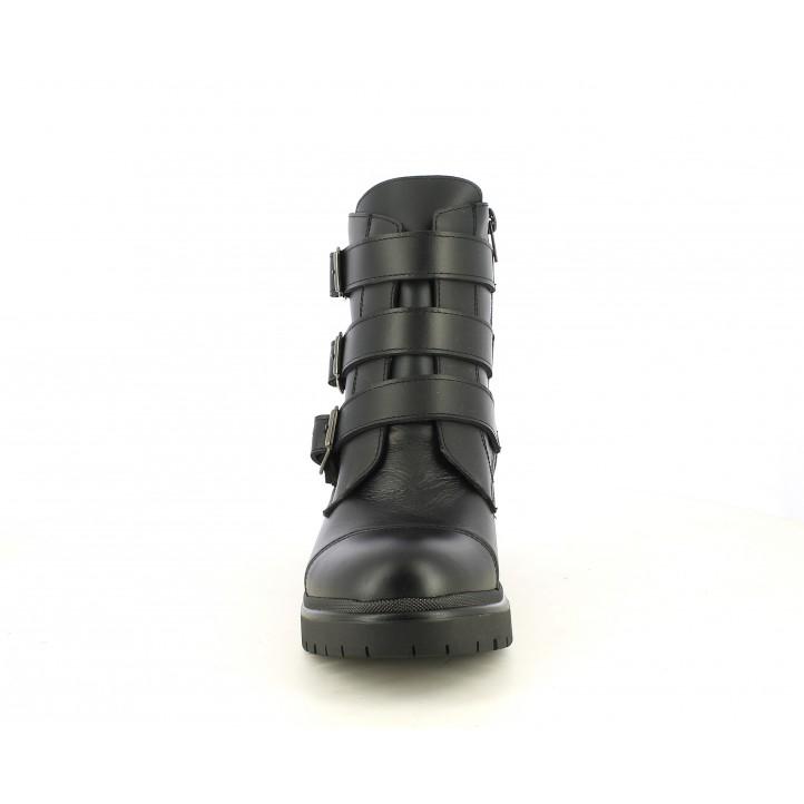 Botines tacón Redlove negros de piel con tres hebillas - Querol online