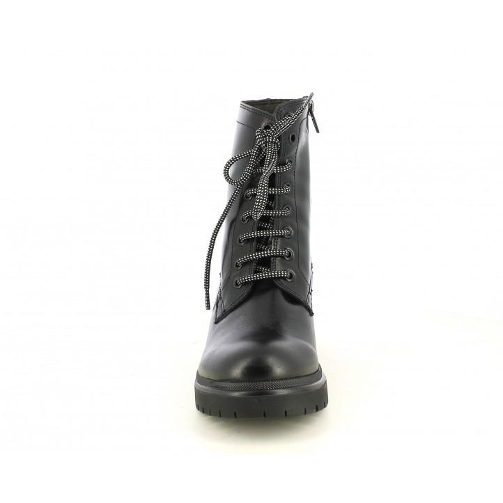 Botines tacón Redlove negros de piel con cordones y tacón medio - Querol online