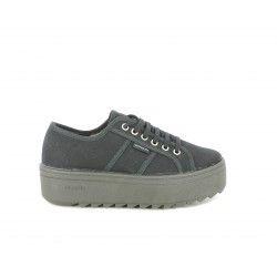 Zapatillas deportivas Victoria de plataforma negras con cordones - Querol online