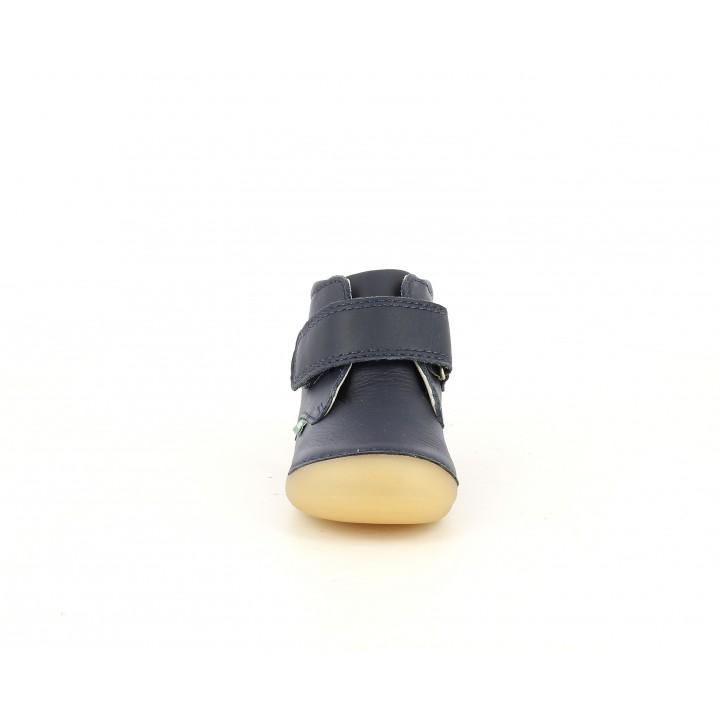 Botins Kickers de pell blau marí amb velcro - Querol online