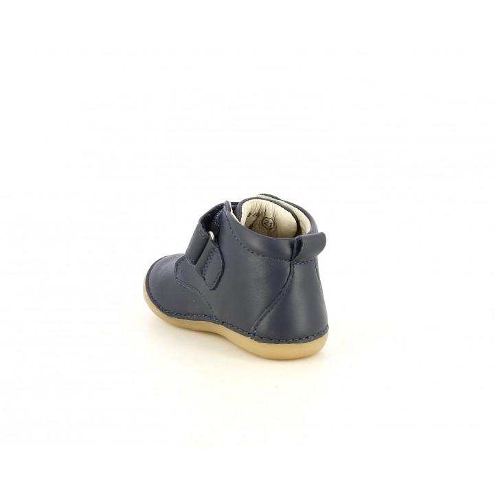 Botines Kickers de piel azul marino con velcro - Querol online
