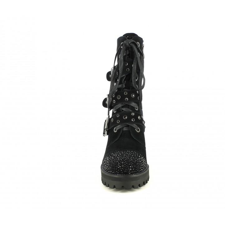 Botes de taló Alma en pena negres de pell amb sivelles, brillants i cordons - Querol online