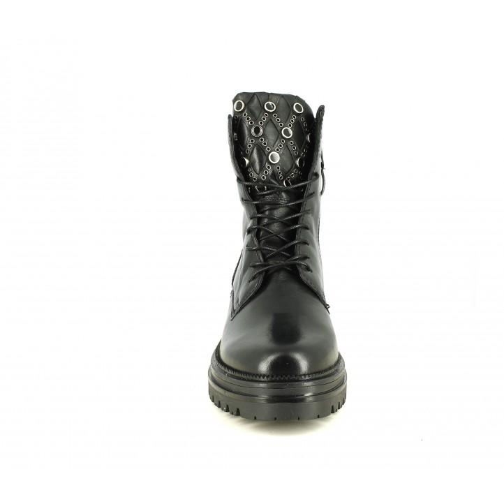 Botines tacón Mjus negras de piel con cordones y pedreria - Querol online
