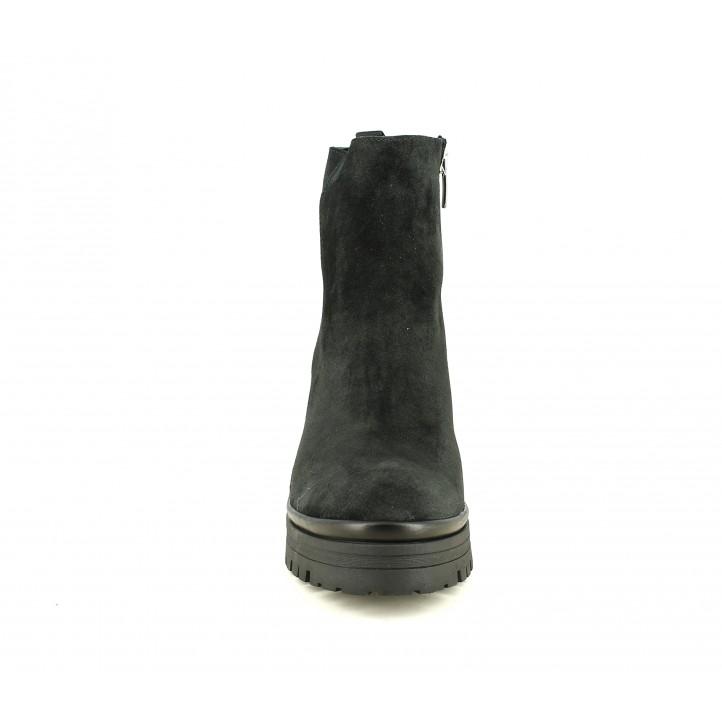 Botines tacón Alpe de piel negras con cremallera lateral, tacón y plataforma - Querol online