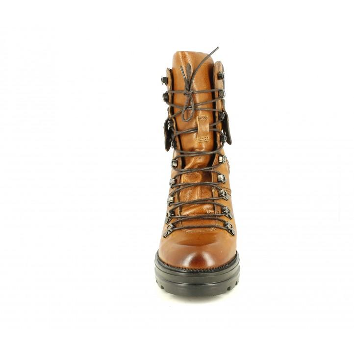 Botines tacón Mjus marrones de piel con detalles metalizados y serpiente - Querol online
