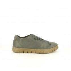 Zapatos sport Slowwalk verdes de piel con suela marrón y cordones elásticos - Querol online