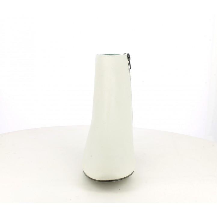 Botines tacón Angel Alarcón de piel blancos hielo con cremallera lateral - Querol online