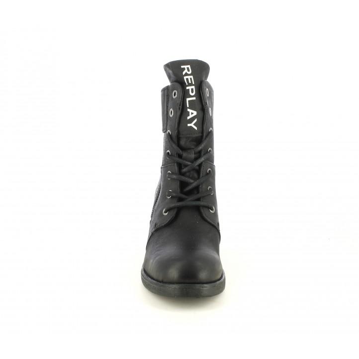 Botines tacón Replay de piel negros con tacón medio y cremallera lateral - Querol online