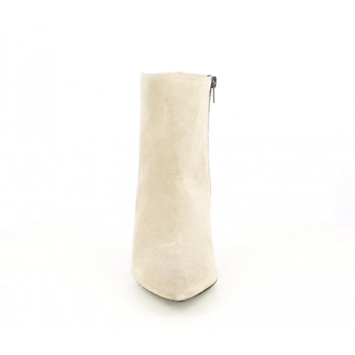Botins de taló Angel Alarcón taupe de pell amb cremallera lateral acabats en punta - Querol online