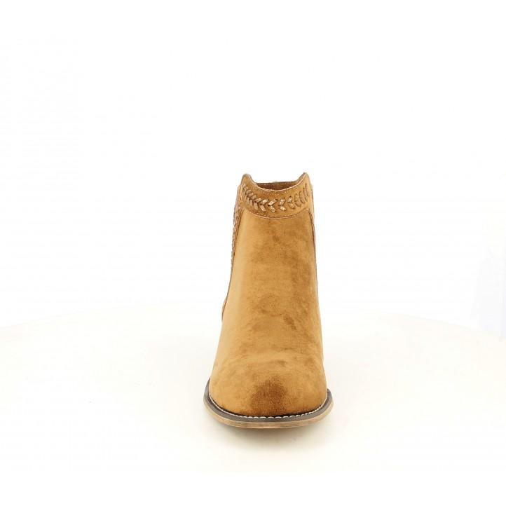 Botines tacón Refresh marrones con detalles trenzados y elásticos - Querol online