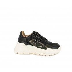Zapatillas deportivas Victoria negras de plataforma blanca con cordones