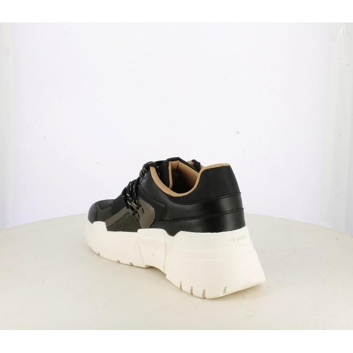 Zapatillas deportivas Victoria negras de plataforma blanca con cordones - Querol online