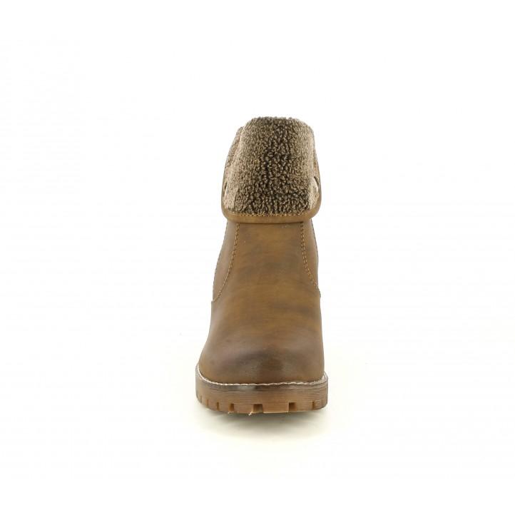Botins de taló Owel marrons de diferents textures i cremallera daurada lateral - Querol online