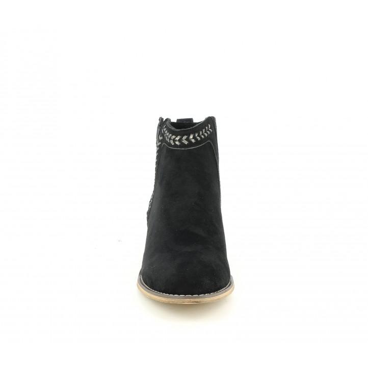 Botines tacón Refresh negros con detalles trenzados y elásticos - Querol online