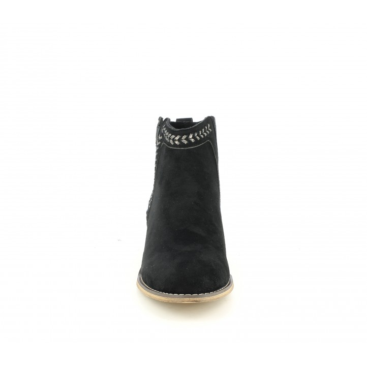 Botins de taló Refresh negres amb detalls trenats i elàstics - Querol online
