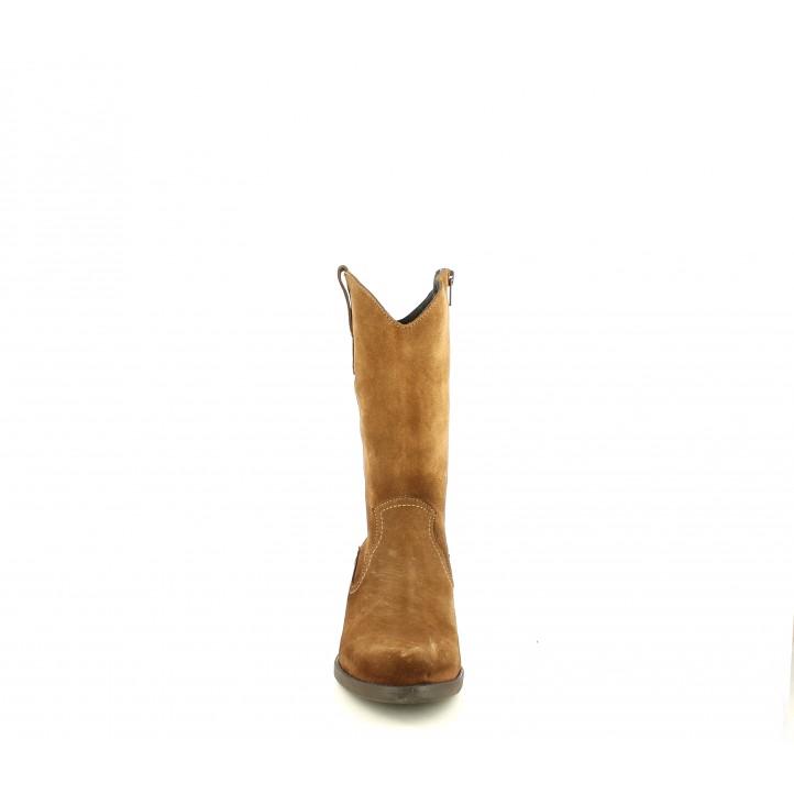 Botes de taló Redlove de pell marrons acabades en punta i amb cremallera lateral - Querol online