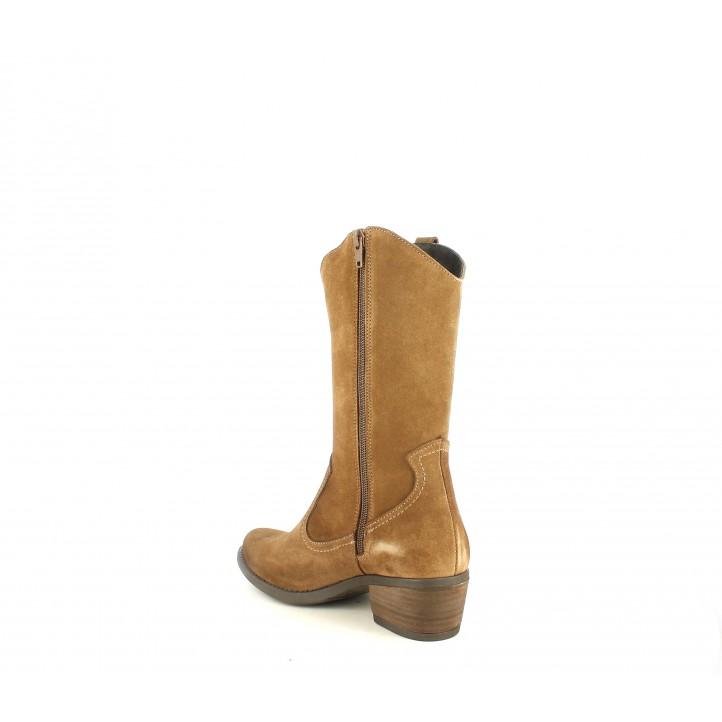 Botas tacón Redlove de piel marrones acabadas en punta y con cremallera lateral - Querol online
