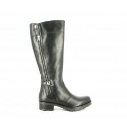 Botas tacón Nero Giardini de piel negras altas con cremallera lateral y hebilla - Querol online
