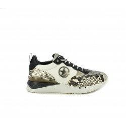 Zapatillas deportivas Cetti de piel con estampado serpiente, lentejuelas y cordones blancos - Querol online