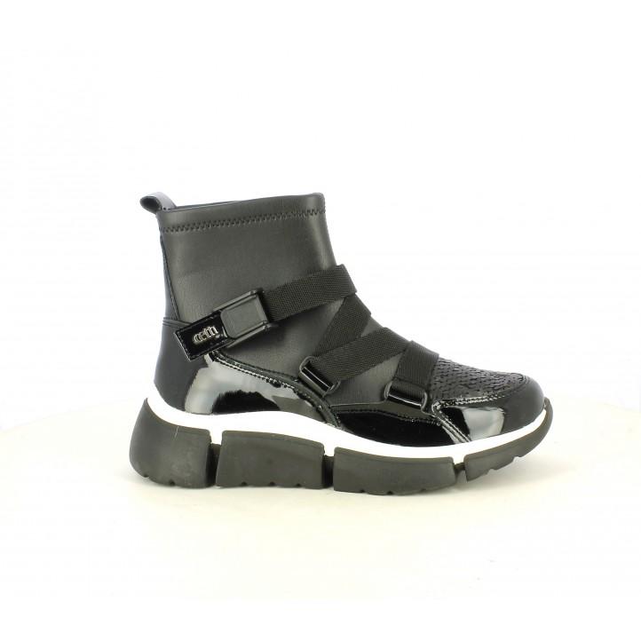 Zapatillas deportivas Cetti negras de piel estilo botín con plataforma - Querol online