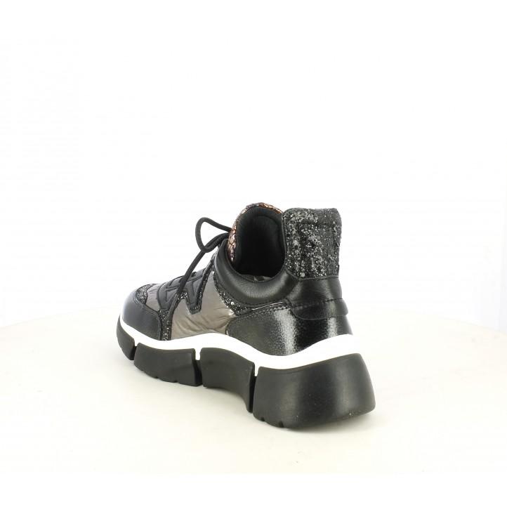 Zapatillas deportivas Cetti de piel negras con tonos rojos metalizados y plataforma - Querol online