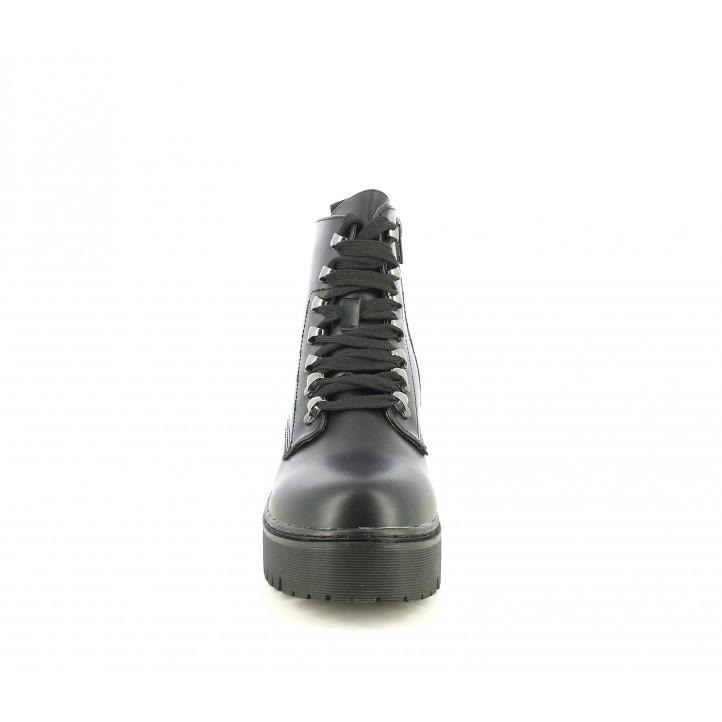 Botines tacón Owel negros de cordones con plataforma y cremallera - Querol online