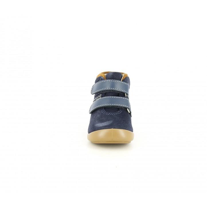 Botins Kickers blaves de pell amb doble velcro i detall marró - Querol online
