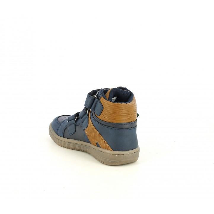 Botines Kickers de piel azules y marrones con velcros - Querol online