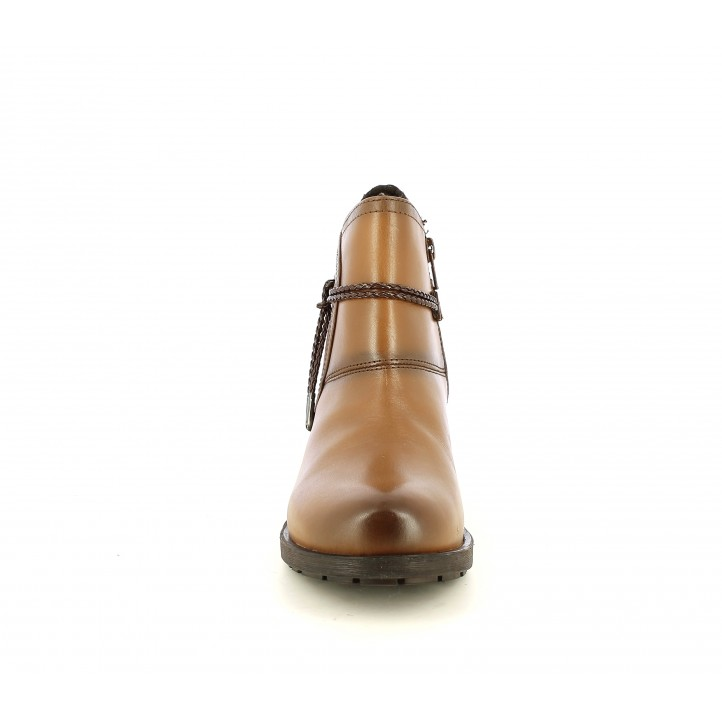 Botins de taló Suite009 de pell marrons amb tira al turmell - Querol online