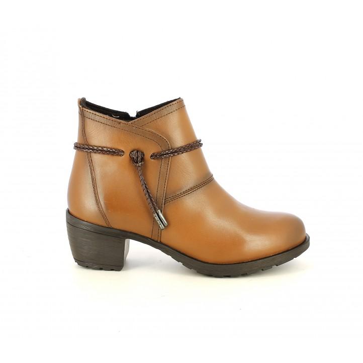 Botines tacón Suite009 de piel marrones con tira en el tobillo - Querol online