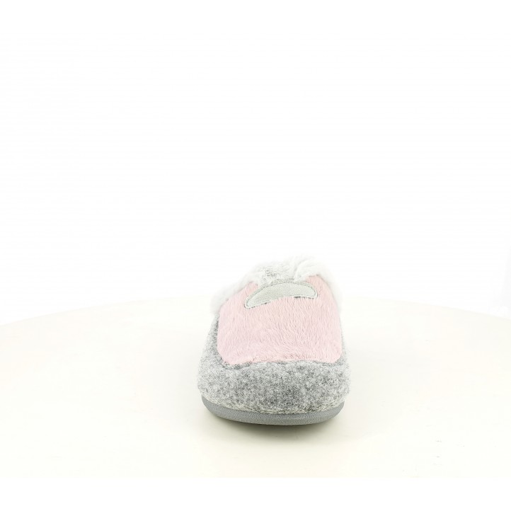 Zapatillas casa Laro rosas y grises con plantilla extraible - Querol online