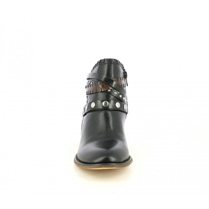 Botines tacón POP CORN negras con tiras en el tobillo y cremallera lateral - Querol online