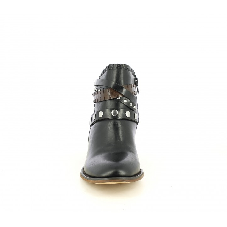 Botins de taló POP CORN negres amb tires al turmell i cremallera lateral - Querol online