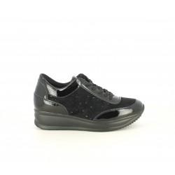 Zapatillas deportivas POP CORN negras con brillantes y detalles en charol - Querol online