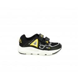 Zapatillas deporte NASA negras y amarillas con suela blanca y doble velcro