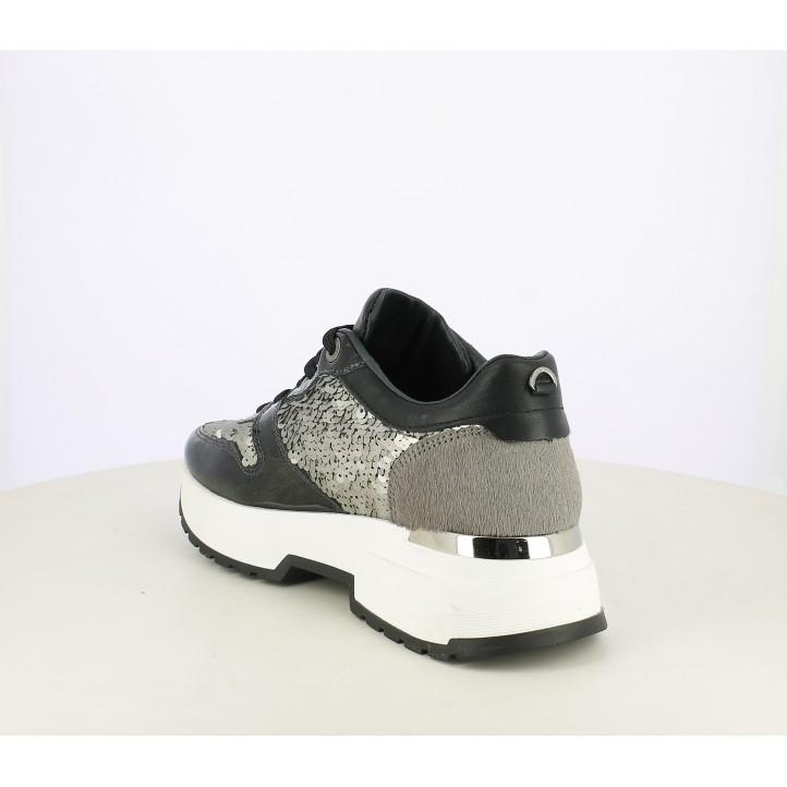 Zapatillas deportivas Cetti de piel negras y plateadas con charol y lentejuelas - Querol online
