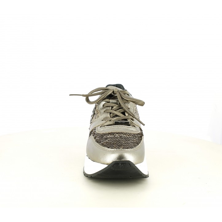 Zapatillas deportivas Cetti de piel marrones y doradas con charol y lentejuelas - Querol online