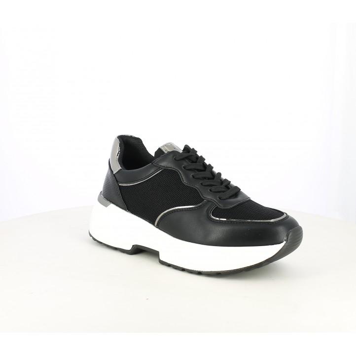Zapatillas deportivas Owel negras de cordones con plataforma blanca - Querol online