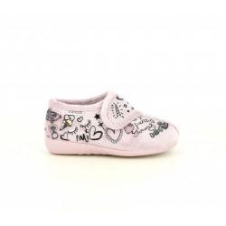 Zapatillas casa Vul·ladi rosas con velcro y dibujos - Querol online