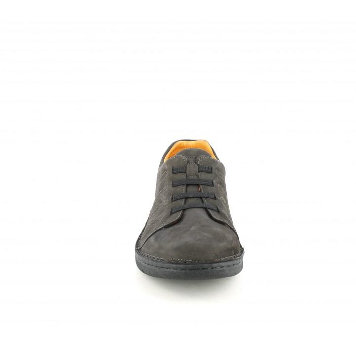 Zapatos sport Zen de piel marrones con cordones elásticos - Querol online