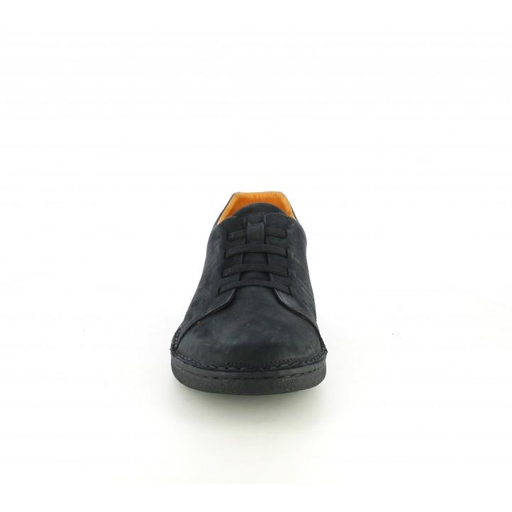 Zapatos sport Zen de piel negros con cordones elásticos - Querol online